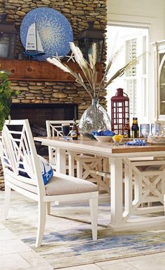 Dining table with stylish bench gives a relaxed and informal feel