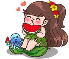 Boobib Aloha! Summer (English Ver.) – LINE stickers | LINE STORE Love Cartoon Couple, Cute Cartoon Pictures, Cute Cartoon Girl, Cute Pictures, Cute Pokemon Wallpaper, Cute Cartoon Wallpapers, Cute Couple Drawings, Cute Drawings, Chibi Kawaii