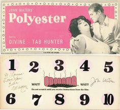 """A John Waters' """"Polyester"""" Odorama card signed by Edith Massey and the writer/ director."""