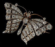 Victorian diamond stylistic butterfly gold on silver set with ruby eyes detachable brooch fitting stunning 1880c