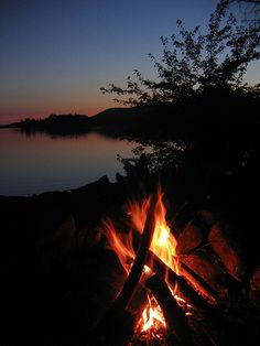 Campfire at sunset, Lows Lake, Adirondacks by kate_stuart, via Flickr