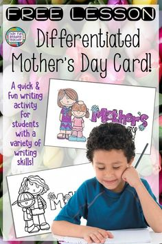 Free lesson A quick and fun Mother's Day writing activity for students with a variety of writing skills Fun Writing Activities, Writing Lessons, Writing Skills, Holiday Activities, Kindergarten Lessons, Preschool Kindergarten, First Grade Lessons, Thing 1, Common Core Reading