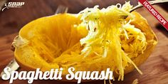 How to bake Spaghetti Squash.  Cut in half, scrape out seeds, bake cut side down on greased pan at 350 for 30 min or till tender.