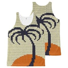 Tropical Tree Orange Sunset Crochet All-Over Print Tank Top Tank Tops