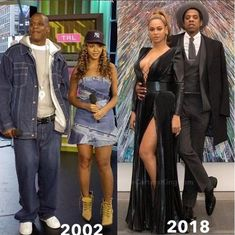 Still going strong! before and after photo of Beyonce and Jay-Z Black Celebrity Couples, Black Couples, Cute Couples, Celebrity Guys, Beyonce World, Beyonce And Jay Z, Black Celebrities, Celebs, Mode Old School