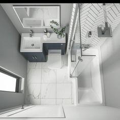 Small Bathroom Interior, Small Bathroom Layout, Bathroom Design Luxury, Designs For Small Bathrooms, Small Bathroom Decorating, Modern Small Bathroom Design, Small Bathroom With Bath, L Shaped Bathroom, Simple Bathroom