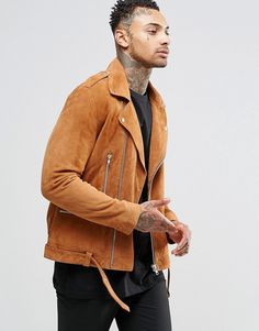 ASOS | ASOS Belted Suede Biker Jacket In Tan at ASOS