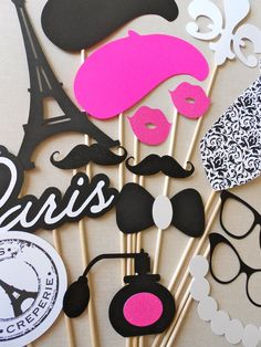 Parisian Photo Booth props by ThePropMarket Paris Themed Birthday Party, 10th Birthday Parties, Sweet 16 Birthday, Birthday Party Themes, Girl Birthday, Bolo Barbie, Paris Baby Shower, Party Mottos, Parisian Party