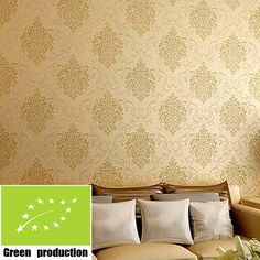 59.00$  Watch now - http://alic05.worldwells.pw/go.php?t=32283092293 - European fashion Flock printing wall paper 3d modern papel de parede vintage 3d room wallpapers gold damask wallpaper for walls