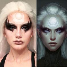 [self] Diana from league of legends makeup test Elf Makeup, Witch Makeup, Cosplay Makeup, Costume Makeup, Makeup Art, Makeup Inspo, Makeup Inspiration, Tribal Makeup, Halloween Makeup Looks