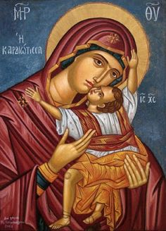 Theotokos by Maria Hatjivasiliou Blessed Mother Mary, Blessed Virgin Mary, Religious Icons, Religious Art, Madonna, Church Icon, Bible Timeline, Byzantine Icons, Holy Mary