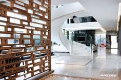 Painel vazado com nichos retangulares e quadrados - lindo!