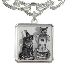 Monochrome Witch Owl Jack O Lantern Charm Bracelets