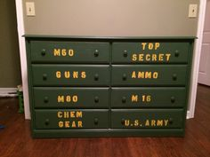 The dresser we painted for the boys new army room.
