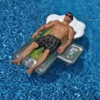 Beer Mug 72 in. Inflatable Pool Float with Mini Cooler, Silver/Yellow