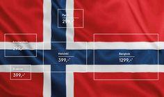 Norwegian Airlines realizó está gráfica para promover sus destinos. Ayuda que los colores de la bandera de Noruega, son los mismos que utilizan los países de las siguientes ciudades: Cracovia, Amsterdam, Paris, Bangkok y Helsinki. Como vemos, lo único que cambia es la posición y el orden de los colores según el país de destino,