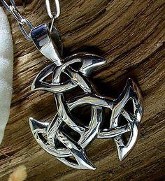925 Sterling Silber, Großer keltischer Knoten, Kelten, Pagan, Ketten-Anhänger