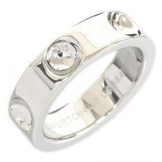 Louis Vuitton 18K White Gold Petit Berg Empreinte Ring 4.5