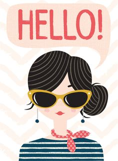 hello girl card by hillarybird on Etsy. , via Etsy.