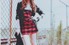 Red checker and black jacket