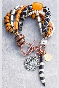 Safari Style African Tusk, Tibetan Horn & Giraffe Print Tribal Bracelet Tribal Bracelets, Fashion Bracelets, Beaded Bracelets, Necklaces, Statement Jewelry, Boho Jewelry, Jewelery, Ethnic Jewelry, Men Necklace