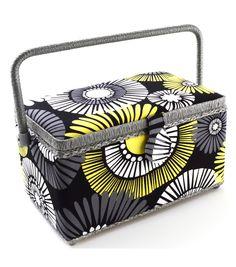 Medium Rectangle Sewing Basket- Black Floral Print