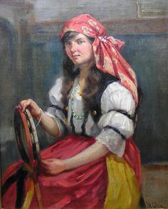 gypsy paintings for sale   John William Gilroy (1868-1944), Gypsy Girl for sale