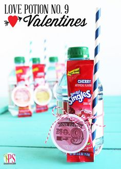 Love Potion Number 9 Valentines: Packets of Kool-Aid + Bottled Water = a Ruby-Red Valentine Treat! Free printables included.