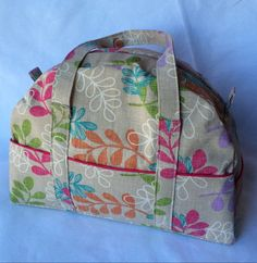 Floral overnight bag travel bag weekender bag by BillettesBaubles