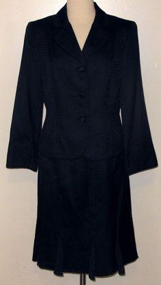 AMANDA SMITH Sz.12 P Textured & Lined NAVY BLUE Silk Blend 2pc Flared Skirt Suit #AmandaSmith #SkirtSuit