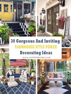 30 Gorgeous And Inviting Farmhouse Style Porch Decorating Ideas Tis the season of summer days and outdoor spaces to enjoy them, so check out our fab collection of farmhouse style ideas for your porch. Farmhouse Outdoor Decor, Farmhouse Front Porches, Farmhouse Garden, Rustic Farmhouse, Farmhouse Style, Farmhouse Furniture, Outdoor Furniture, Wooden Furniture, Furniture Ideas