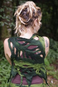 Felt Rain Forest Leaf Wood Nymph Vest by frixiegirl on Etsy
