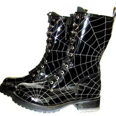 Doc Martens with spider webs These are awesome!!! :-) :-) wish u knew where I could find all of the unusual ones :-)