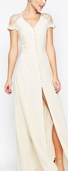 button front maxi dress