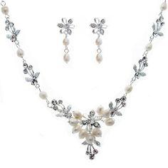 Silver Flowers Bridal Jewelry Set