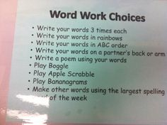 Choice is intrinsically motivating Spelling Homework, Spelling Words, Word Study, Word Work, Teaching Schools, Teaching Ideas, School Projects, School Ideas, Rainbow Writing