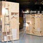 wooden wardrobes, shipping crates,
