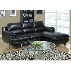 Julius Black Monarch Leather Sectional Sofa | Sectional Sofas