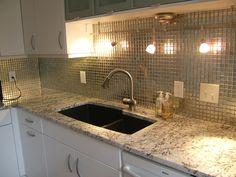 Granite Countertops, White Cabinets, Metallic Backsplash. Miami Circle  Marble U0026 Fabrication In Atlanta