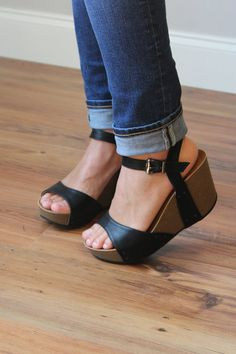 Black Button Wedges - House of Glam