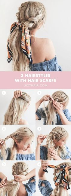 Summer hairstyles with headscarves, Summer season Hairstyles With Headscarves HOW TO . - pferdeschwanz, Summer hairstyles with headscarves, Summer season Hairstyles With Headscarves HOW TO … Braided Ponytail Hairstyles, Trendy Hairstyles, Ponytail Ideas, Ponytail Tutorial, Active Hairstyles, Hair Scarf Tutorial, Braids Ideas, Plaited Ponytails, Long Hair Easy Hairstyles