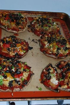 Portobello Mushroom Pizzas -- yum yum yummy! easy delicious and I never miss the crust. perfect proportion :)
