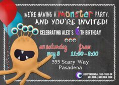 Printable Monster Birthday Invitation 5x7 by Melinda Bryant Party Boutique on Etsy.  Click on the photo to shop for this, and many other fun and unique invitations and decorations.   //  lil' monster, children's party themes, monster party, birthday invitation, printable, chalkboard, print at home, custom, personalized, original, boy or girl, ideas