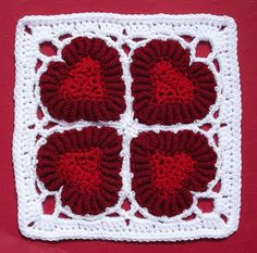 Valentine Heart crochet afghan square