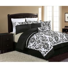 Daniella comforter sets not only show a neat combination of colors, but also bring together a lovely black and white, oversized damask pattern in one of the most unique bedding collections ever seen.