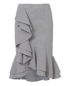 Sylvia Ruffle Front Gingham Skirt, PAT-CHECK, alta resolución