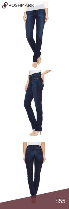 Seven for mankind Kimmie straight jeans! Worn once Flaunt it in some seriously chic denim. The curve-hugging has a mid rise and contoured waistband. The rich and sophisticated dark wash has authentic whiskers and chevrons, and subtle hand sanding that makes the lovely rich blue color pop. Five-pocket design with clean back pockets. Zip fly and button closure. 98% cotton, 2% spandex. Product measurements were taken using size 26, inseam 32. Waist Measurement: 27 in Outseam: 40 in Inseam: 32…