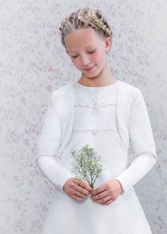 Emmerling Communion Bolero - 75034 - White Satin Long Sleeve Jacket - Age 6 7 8 9 10 11 12 years - Elegant First Holy Communion Jacket- Girls