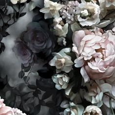 Still Life with Shadows Gray Wallpaper - Floral Wallpaper - by Ellie Cashman Design