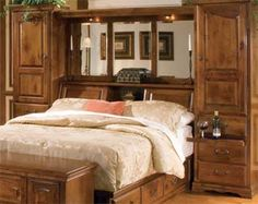 Queen Bed bguilt=in headboard | Bookcase Headboards | Bookcase Headboard | American Made